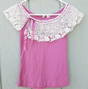 Anthropologie Moth Tank Top Pink Pullover Lace